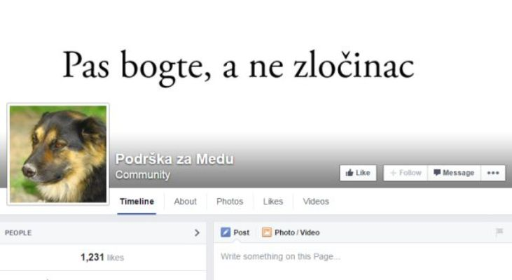 "Photo of Podrška za Medu : ""Pas a ne zločinac !"""