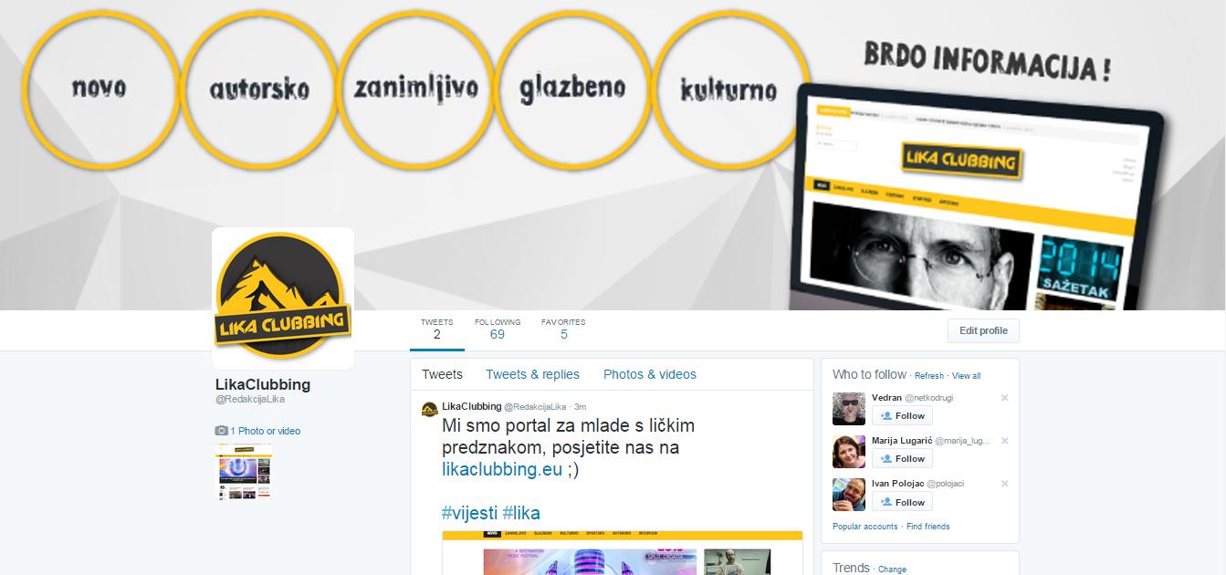 Photo of Pratite prvi lički medij na Twitteru @RedakcijaLika