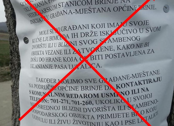"""Photo of DEMANTIJ o trovanju pasa: """"OPĆINA BRINJE NE STOJI IZA OBAVIJESTI  komunalnog redara"""""""