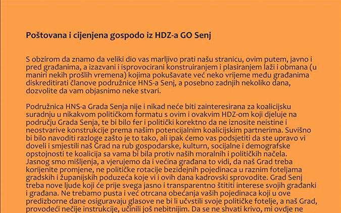 """Photo of Senjski HNS oštro na HDZ: """"Potreban vam je dulji godišnji odmor od spletki, laži i obmana!"""""""