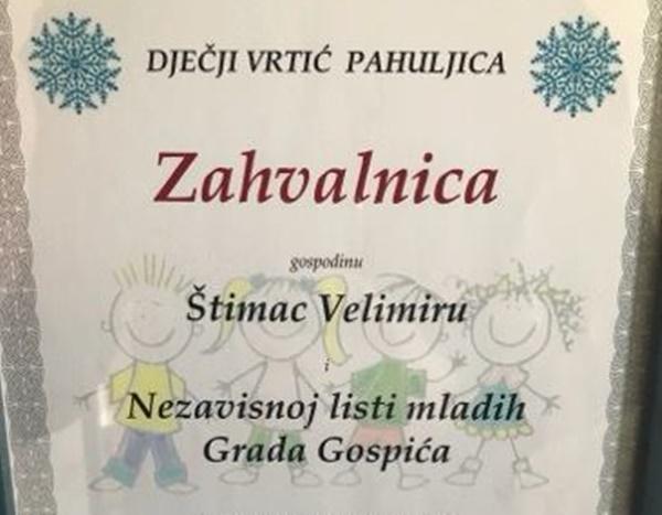 """Photo of Dječji vrtić """"Pahuljica"""" Gospić uručio zahvalnicu Nezavisnoj listi mladih"""