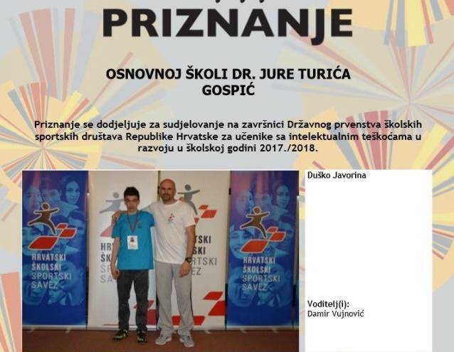 Photo of Gospićki osnovnoškolac Duško Javorina osvojio odlično peto mjesto u stolnom tenisu!