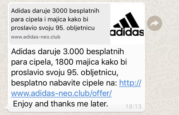 Photo of NE KLIKAJTE NA LINK Navlakuša o besplatnim Adidas artiklima kola po Whatsappu